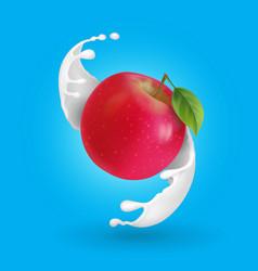 red apple and milk splash realistic vector image