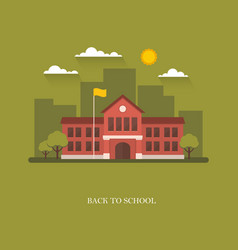 school building on green background vector image