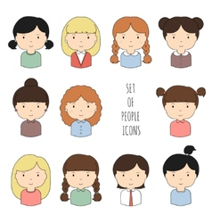 Set of colorful female faces icons Funny cartoon vector image