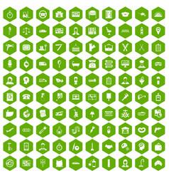 100 work icons hexagon green vector