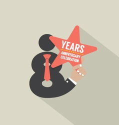 8th Years Anniversary Typography Design vector
