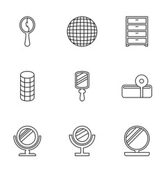 9 mirror icons vector image