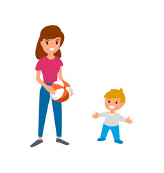 a babysitter or nanny is playing the ball with the vector image