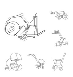 Agricultural machinery outline icons in set vector