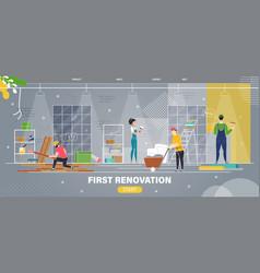 Apartment first renovation flat web banner vector