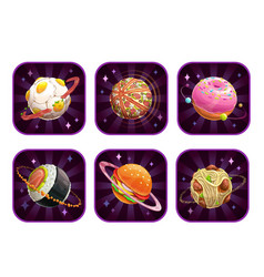 app icons with food planets vector image
