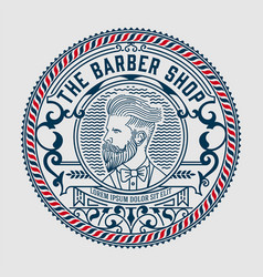 Barber shop logo with hipster man vector