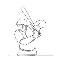 Baseball player batting continuous line vector