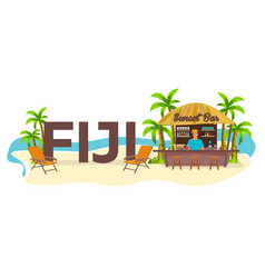 Beach bar fiji travel palm drink summer vector