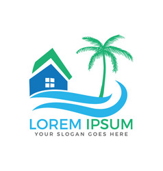 beach house logo design vector image