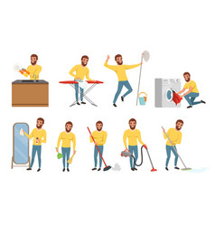 bearded man with different household chores vector image