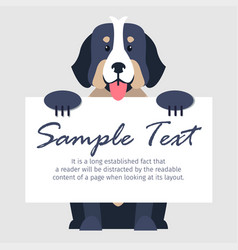 Bernese mountain dog with signboard vector