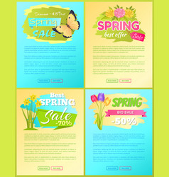 big sale spring discount offer premium posters set vector image