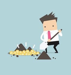 businessman digging a ground to find treasure coin vector image