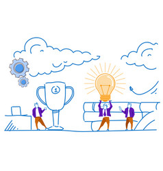 businessman hold light lamp winner first place vector image