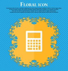 Calculator icon Floral flat design on a blue vector image