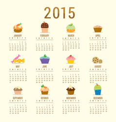 calendar 2015 cupcake cartoon cute vector image