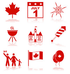 canada day icons vector image
