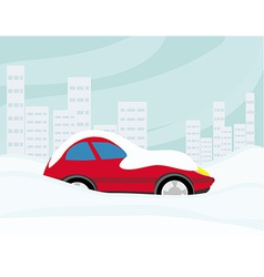 Car Stuck In The Snow vector image