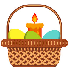 cartoon easter egg candle wicker basket icon vector image