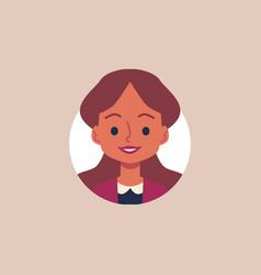 cheerful cartoon girl with brown hair - flat vector image
