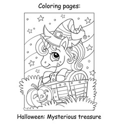 coloring book page cute unicorn and treasure chest vector image