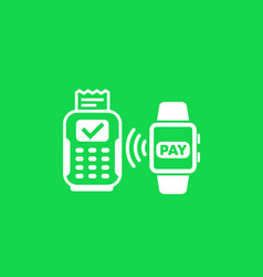 Contactless payment with pos terminal vector