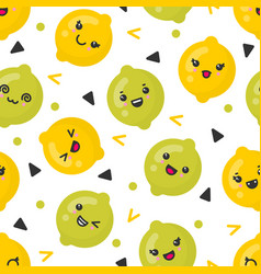 Cute smiling lemon and lime fruits vector