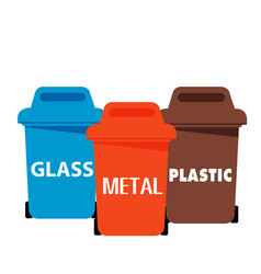 different color recycle bin glass metal plastic ve vector image