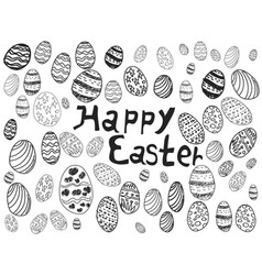 doodle easter eggs background vector image