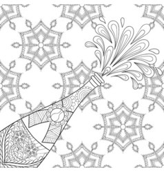 Explosion bottle on snowflakes vector