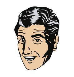 Face man smiling expression pop art vector
