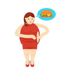 Fat woman thinking about burger icon vector