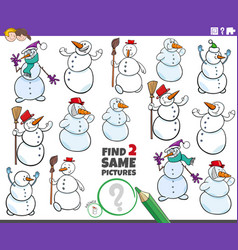 Find two same snowmen characters educational game vector