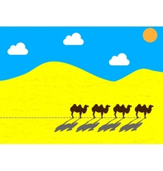 Flat camels going through the desert vector image