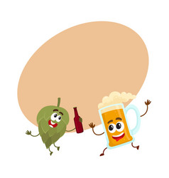 funny beer glass and hop characters having fun vector image