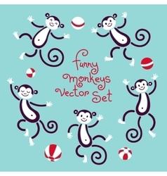 Funny monkeys isolated set vector
