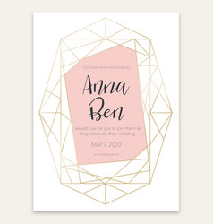 geometric card with wedding invitation vector image