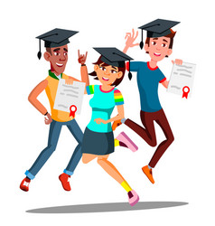 group of happy students in graduation caps jumping vector image