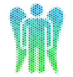 Halftone blue-green angel icon vector