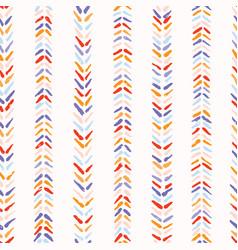 Hand drawn herringbone folk art stitch seamless vector