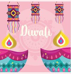 happy diwali festival diya lamps and hanging vector image