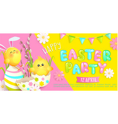 Happy easter party invitation banner vector