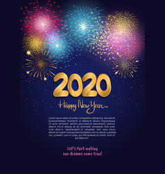 Happy new year 2020 golden number with colorful vector