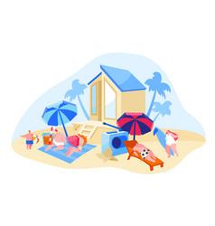 happy people relaxing on beach family characters vector image