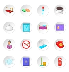 Hotel icons set cartoon style vector image