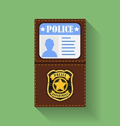 Icon of Police Badge With Id Case holder Flat vector image