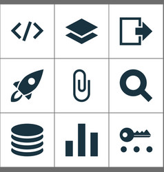 Interface icons set with log out search attach vector