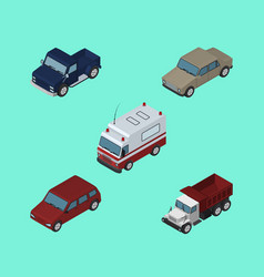 Isometric car set of first-aid auto car and vector