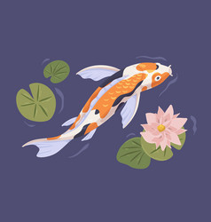japanese koi swimming in pond with flower japan vector image